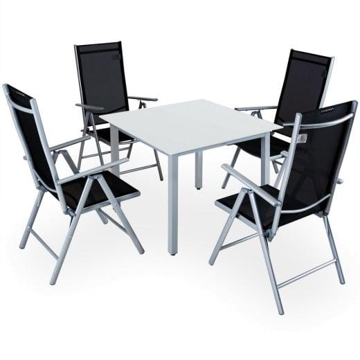 Salon de jardin aluminium argent »Bern« 1 table 4 chaises pliantes verre
