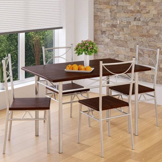 """Ensemble table et chaise """"Paul"""" châtaigne 5 pièces"""