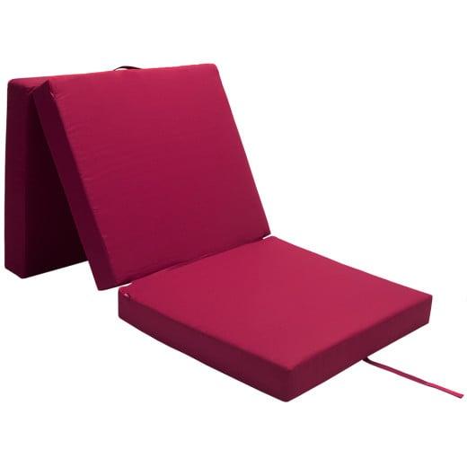 Matelas pliant rouge foncé 190x70x10cm Pliable en 3 Matelas lit 100% Polyester