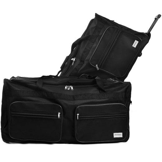 Grand sac de voyage XXL trolley 160L avec 3 roulettes - noir - 85 x 43 x 44 cm