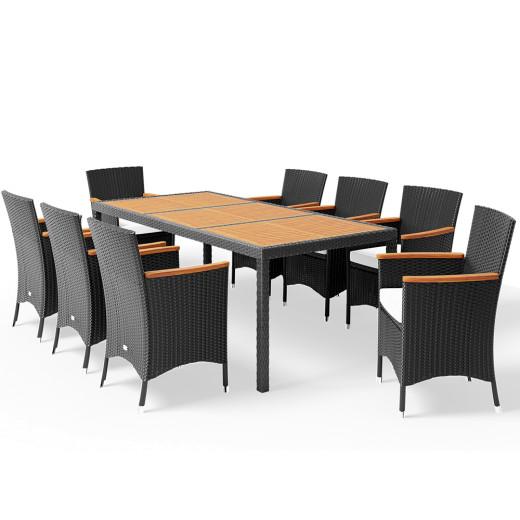Salon de jardin en polyrotin et bois d'acacia - coussins 7cm - chaises empilable