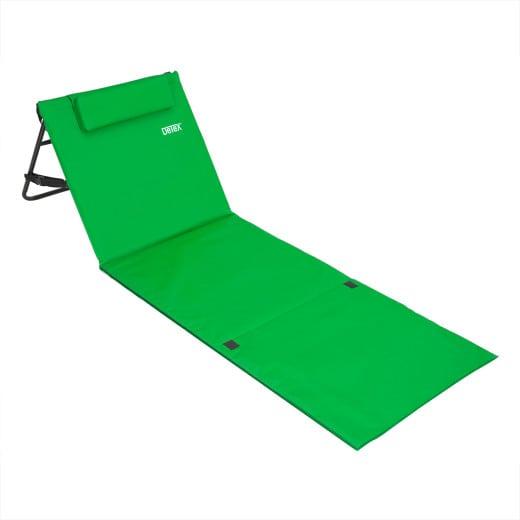 Tapis de plage matelas plage dossier réglable sangle transport 158cm x 56cm vert