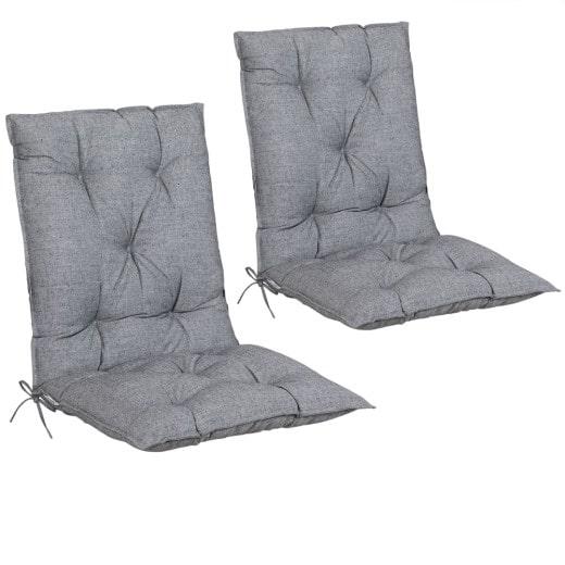 Set de 2 Coussins de chaise avec dossier Coussin pour fauteuil Intérieur Extérieur