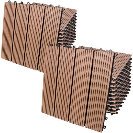 22x Dalles clipsables en bois composite WPC 30 x 30 cm classique terracotta