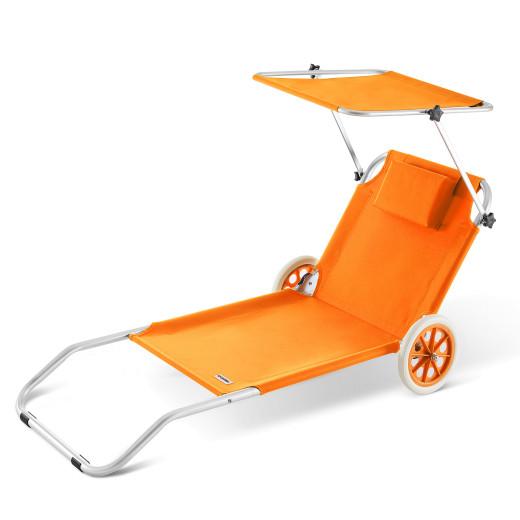 Chaise longue CRÊTE en aluminium avec pare soleil - Orange
