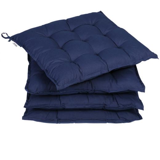 4x Coussins pour chaise Bleu - Galette Dessus de chaise 41cm - Jardin Terrasse