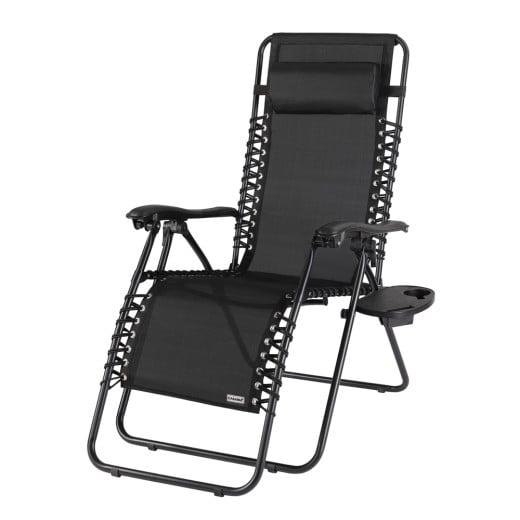 Chaise longue de jardin noir, Chaise de camping, Transat métal et toile,