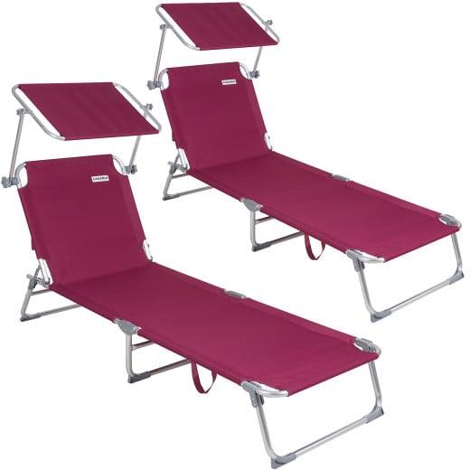 2xChaise longue Alu Ibiza - Pare soleil intégré réglable - Couleur rouge
