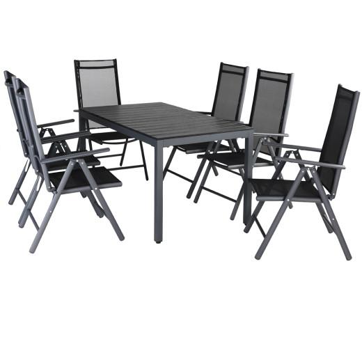 Salon de jardin Bern 6 et 1 Anthracite Ensemble table et chaises pliables en alu